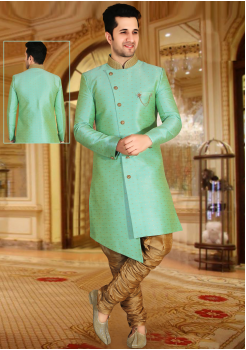 Sea Green with Gold Color Designer New Indo Western Sherwani