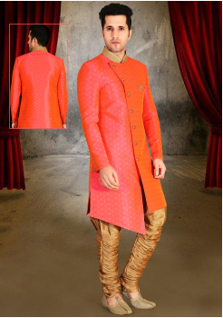 Bright Peach Orange Color Designer New Indo Western Sherwani