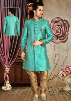 Aqua blue with Gold Color Designer New Indo Western Sherwani
