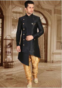 Black with Gold Color Designer New Indo Western Sherwani