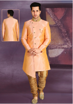 Peach with Gold  Color Designer New Indo Western Sherwani