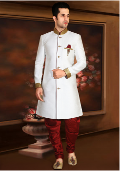 White with Maroon Color Designer New Indo Western Sherwani