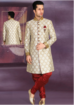 White with Golden printed Color Designer New Indo Western Sherwani