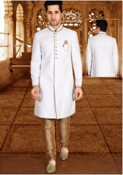 White with Gold Color Designer New Indo Western Sherwani