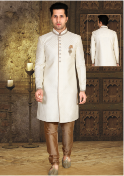 Off White with Gold Color Designer New Indo Western Sherwani