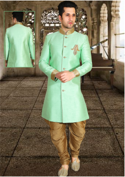 Pista Green Color Designer New Indo Western Sherwani