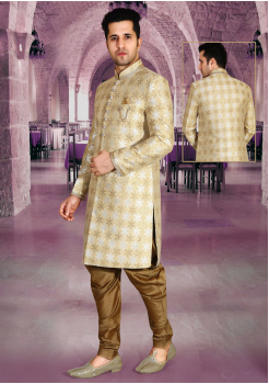 Cream with Gold Color Designer New Indo Western Sherwani