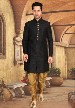 Black Color Designer New Indo Western Sherwani