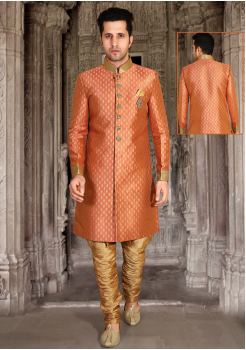 Bright Peach with Gold Color Designer New Indo Western Sherwani