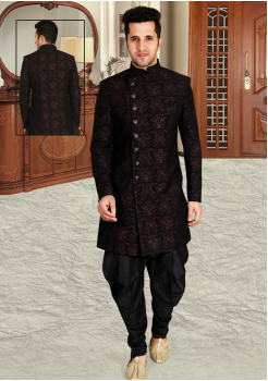 Black & Maroon  Color Designer New Indo Western Sherwani