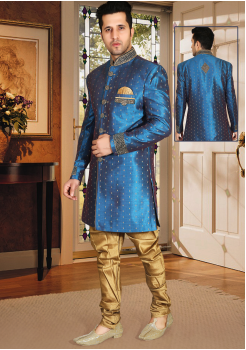 Peacock blue shinny Color Designer New Indo Western Sherwani