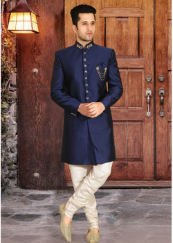 Navy Blue with White Color Designer  Indo Western Sherwani