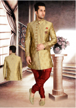 Gold - Red Color Designer  Indo Western Sherwani