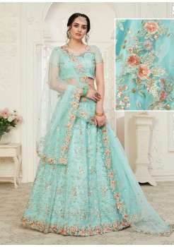 Blue  Color  Net with Banglori Silk inner with Cording,Thread & Sequence Embroidery