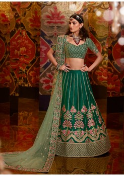 Green  Color Raw, Satin Silk, Net Viscose Georgette Stone With Embroidery
