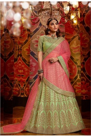 Yellow and Pink Color Raw, Satin Silk, Net Viscose Georgette Stone With Embroidery
