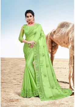 Parrot Green Saree