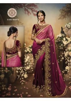 Maroon Pink Shaded Silk Saree