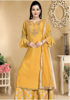 Yellow Color Designer Silk Sharara suit