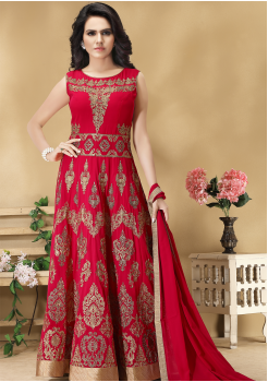 Red Color Designer Viscose Georgette Party Wear Gown