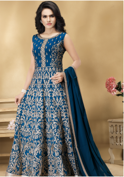 Blue Color Designer Viscose Georgette Party Wear Gown