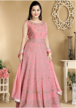 Pink Color Designer Viscose Georgette Party Wear Gown