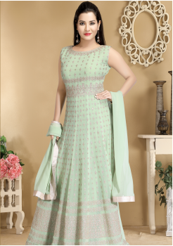 Green Color Designer Viscose Georgette Party Wear Gown