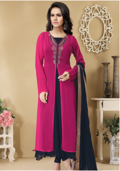 Dark Pink and Navy Blue Color Designer Viscose Georgette Party Wear Gown
