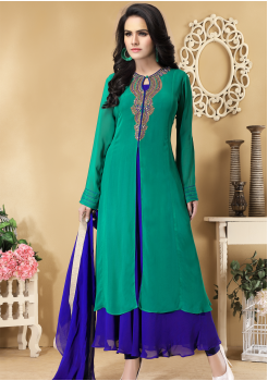Green And Blue Color Designer Viscose Georgette Party Wear Gown