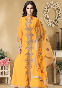 Yellow Color Designer Viscose Georgette Party Wear Gown