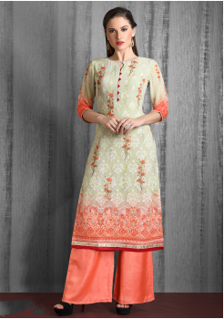 Green And Peach Color Designer Georgette Kurti