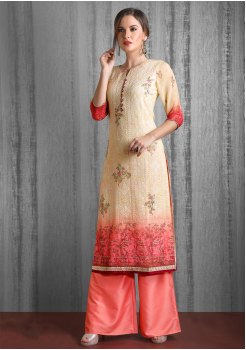 Peach Color Designer Georgette Kurti