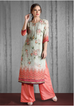 Grey And Peach Color Designer Georgette Kurti