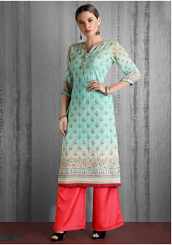Sea Green And Peach Color Designer Georgette Kurti