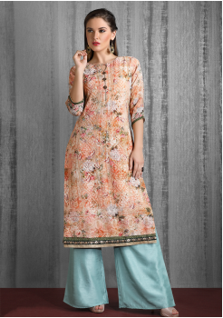 Orange And Blue Color Designer Georgette Kurti