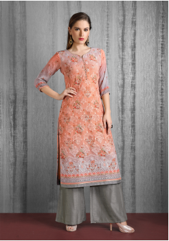Orange And Grey Color Designer Georgette Kurti