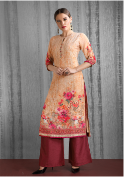 Orange And Maroon Color Designer Georgette Kurti