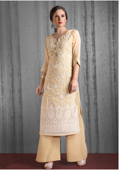 Gold Color Designer Georgette Kurti