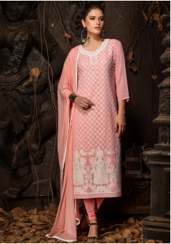 Pink Color Designer Viscose Straight Cut Suit