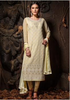 Yellow Color Designer Viscose Straight Cut Suit
