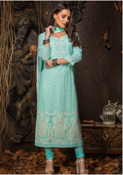 Blue Color Designer Viscose Straight Cut Suit