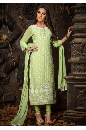 Green Color Designer Viscose Straight Cut Suit