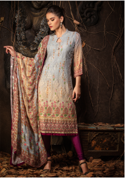 Grey With Beige Color Designer Viscose Straight Cut Suit