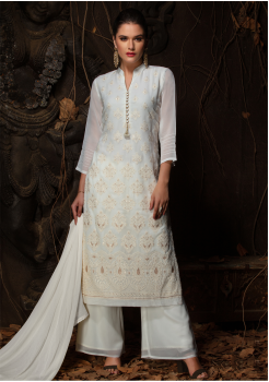White Color Designer Viscose Straight Cut Suit