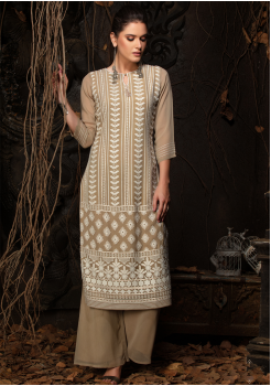 Brown Color Designer Georgette Straight Cut Kurti