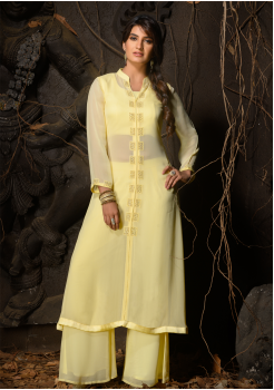 Yellow Color Designer Georgette Straight Cut Kurti