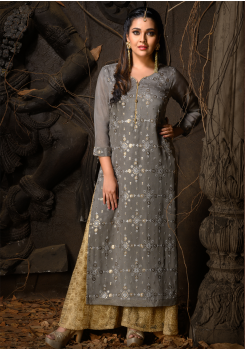 Grey Color Designer Chiffon Straight Cut Kurti