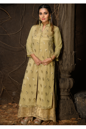 Yellow Color Designer Chiffon Straight Cut Kurti