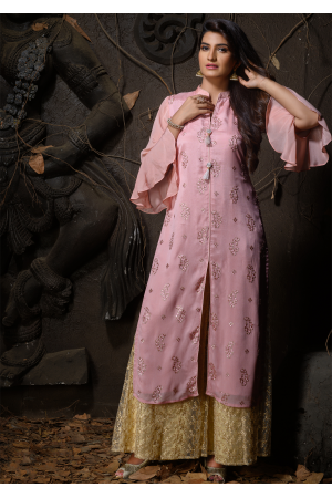 Pink Color Designer Chiffon Straight Cut Kurti