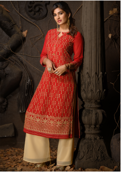 Red Color Designer Georgette Straight Cut Kurti